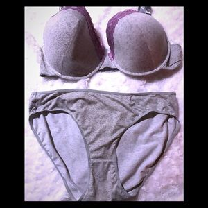 Other - Ice Gray & Lavender 44D Underwire Bra & Panty Set